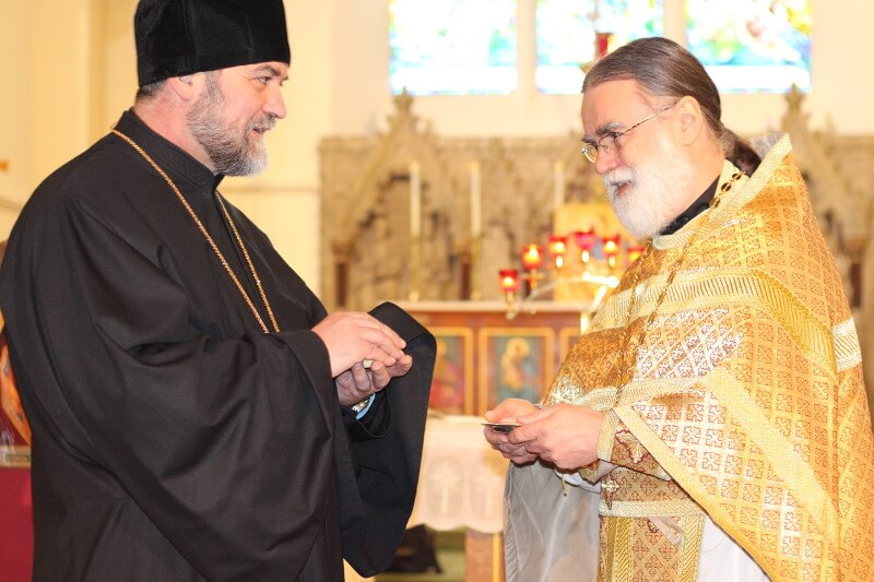 Greeting Fr Luka from the Serbian parish in Stratford