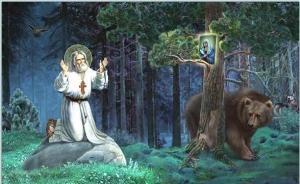 Saint Seraphim and a bear